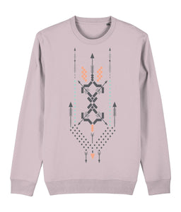 Boho Totem III Sweatshirt Clothing IndianBelieves Cotton Pink X-Small