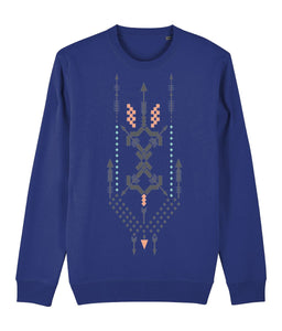 Boho Totem III Sweatshirt Clothing IndianBelieves French Navy X-Small