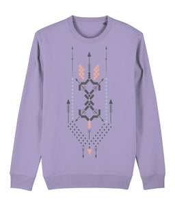 Boho Totem III Sweatshirt Clothing IndianBelieves Lavender Dawn X-Small
