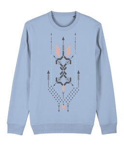 Boho Totem III Sweatshirt Clothing IndianBelieves Sky Blue X-Small