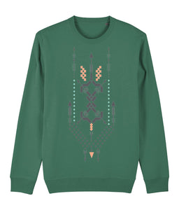 Boho Totem III Sweatshirt Clothing IndianBelieves Varsity Green X-Small
