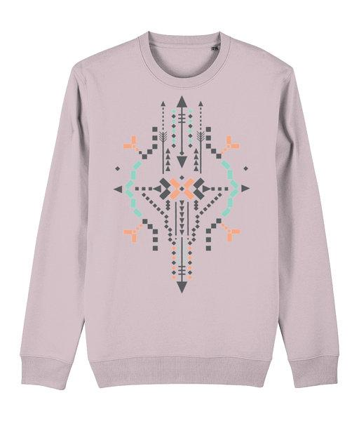 Boho Totem IV Sweatshirt Clothing IndianBelieves Cotton Pink X-Small