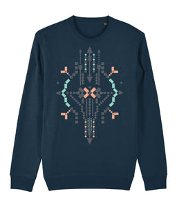 Boho Totem IV Sweatshirt Clothing IndianBelieves Dark Heather Blue X-Small