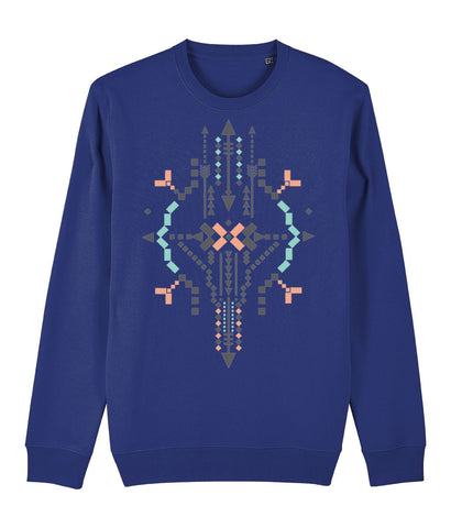 Boho Totem IV Sweatshirt Clothing IndianBelieves French Navy X-Small