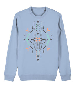 Boho Totem IV Sweatshirt Clothing IndianBelieves Sky Blue X-Small