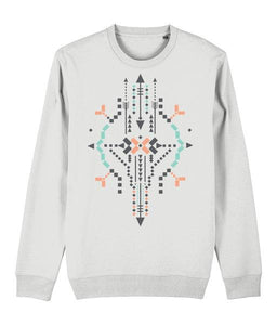 Boho Totem IV Sweatshirt Clothing IndianBelieves White X-Small