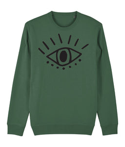 Esoteric Eye Sweatshirt Clothing IndianBelieves Bottle Green X-Small