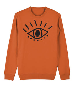 Esoteric Eye Sweatshirt Clothing IndianBelieves Bright Orange X-Small