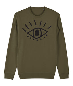 Esoteric Eye Sweatshirt Clothing IndianBelieves British Khaki X-Small