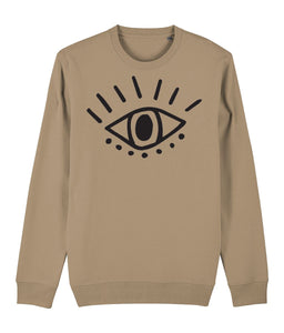 Esoteric Eye Sweatshirt Clothing IndianBelieves Camel X-Small