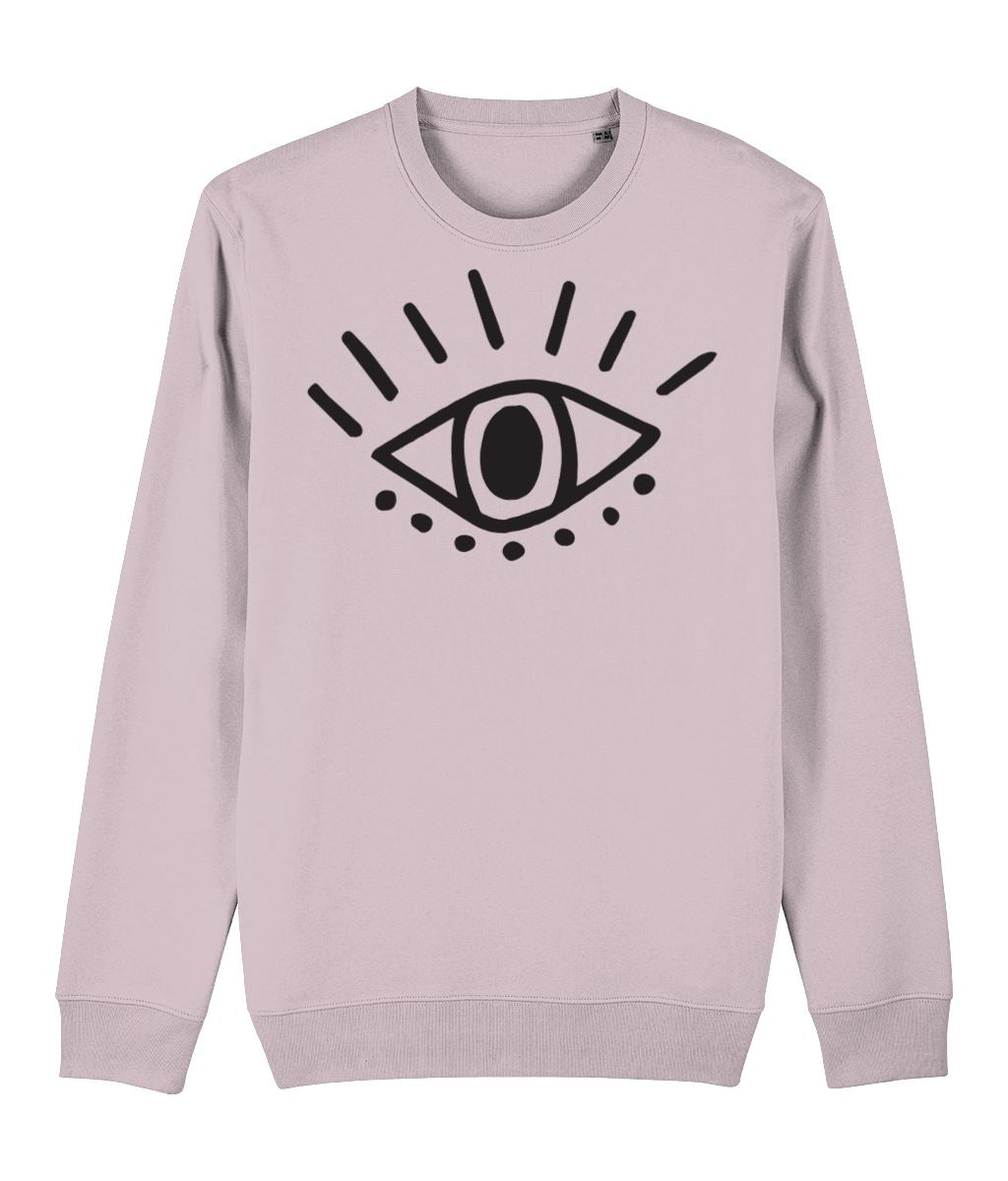 Esoteric Eye Sweatshirt Clothing IndianBelieves Cotton Pink X-Small