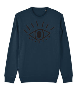 Esoteric Eye Sweatshirt Clothing IndianBelieves Dark Heather Blue X-Small
