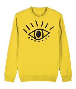 Esoteric Eye Sweatshirt Clothing IndianBelieves Golden Yellow X-Small