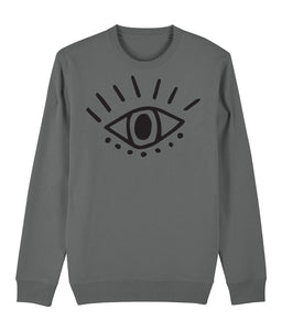 Esoteric Eye Sweatshirt Clothing IndianBelieves Heather Grey X-Small