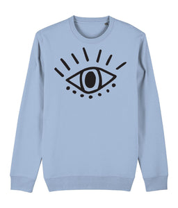 Esoteric Eye Sweatshirt Clothing IndianBelieves Sky Blue X-Small
