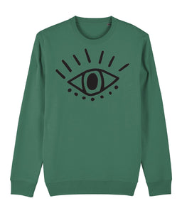 Esoteric Eye Sweatshirt Clothing IndianBelieves Varsity Green X-Small