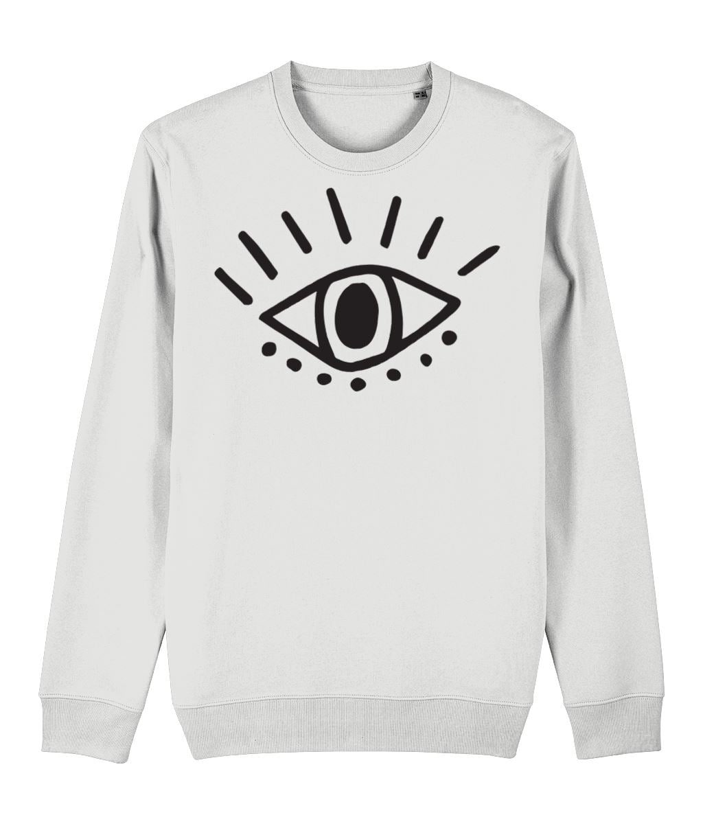 Esoteric Eye Sweatshirt Clothing IndianBelieves White X-Small