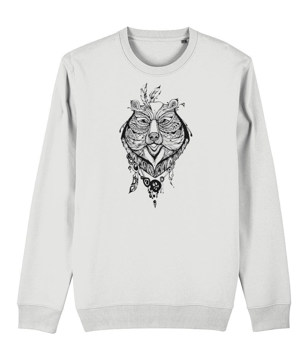 Ethnic Bear Sweatshirt Clothing IndianBelieves White X-Small