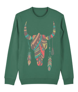Ethnic Bull Skull Sweatshirt - IndianBelieves