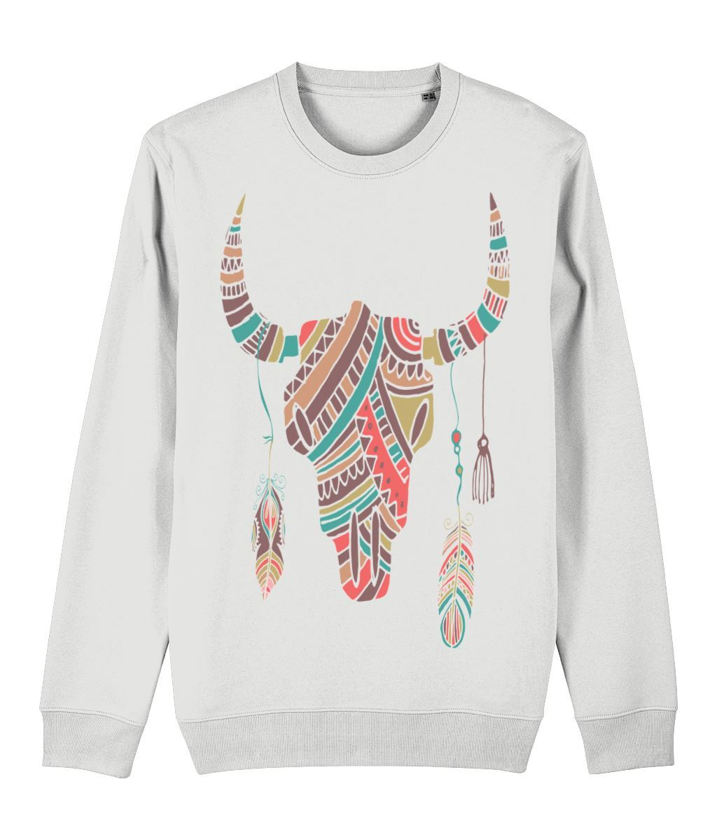 Ethnic Bull Skull Sweatshirt Clothing IndianBelieves White X-Small