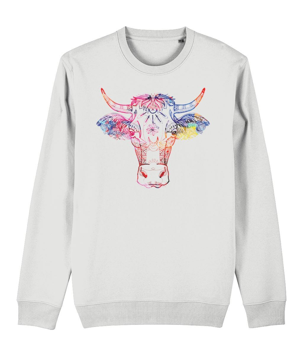 Ethnic Cow Sweatshirt Clothing IndianBelieves White X-Small