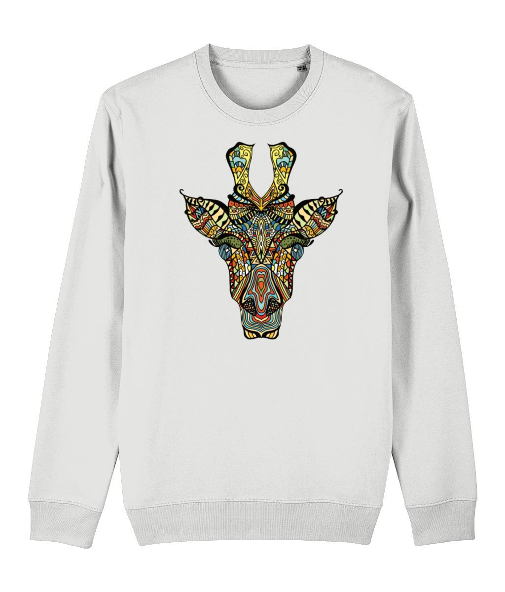 Ethnic Giraffe Sweatshirt Clothing IndianBelieves White X-Small