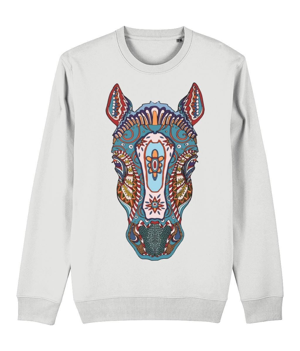 Ethnic Horse Sweatshirt Clothing IndianBelieves White X-Small