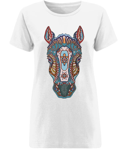 Ethnic Horse T-shirt Clothing IndianBelieves X-Small White
