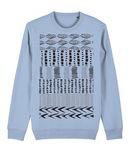 Ethnic Pattern I Sweatshirt Clothing IndianBelieves Sky Blue X-Small