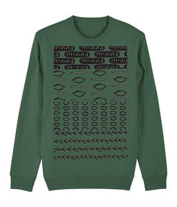 Ethnic Pattern II Sweatshirt Clothing IndianBelieves Bottle Green X-Small