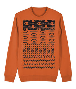 Ethnic Pattern II Sweatshirt Clothing IndianBelieves Bright Orange X-Small