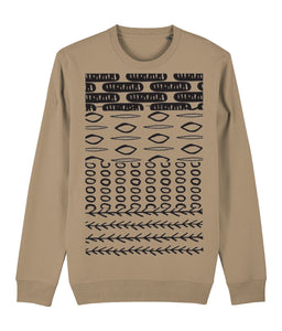Ethnic Pattern II Sweatshirt Clothing IndianBelieves Camel X-Small