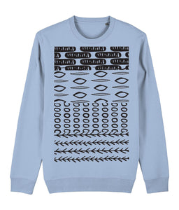 Ethnic Pattern II Sweatshirt Clothing IndianBelieves Sky Blue X-Small