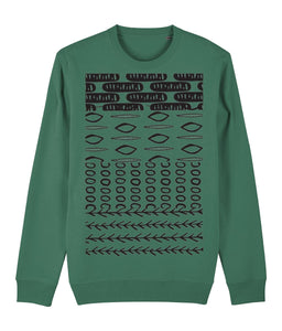 Ethnic Pattern II Sweatshirt Clothing IndianBelieves Varsity Green X-Small