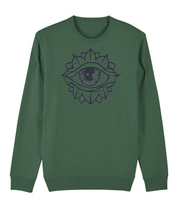 Eye Flower Sweatshirt Clothing IndianBelieves Bottle Green X-Small