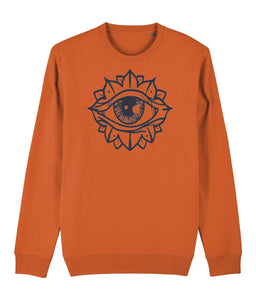 Eye Flower Sweatshirt Clothing IndianBelieves Bright Orange X-Small