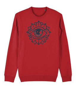 Eye Flower Sweatshirt Clothing IndianBelieves Bright Red X-Small
