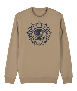Eye Flower Sweatshirt Clothing IndianBelieves Camel X-Small