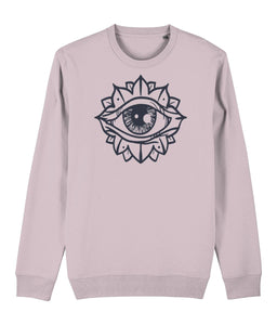 Eye Flower Sweatshirt Clothing IndianBelieves Cotton Pink X-Small