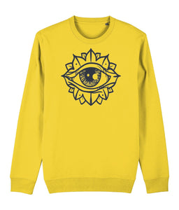 Eye Flower Sweatshirt Clothing IndianBelieves Golden Yellow X-Small