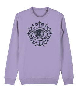 Eye Flower Sweatshirt Clothing IndianBelieves Lavender Dawn X-Small