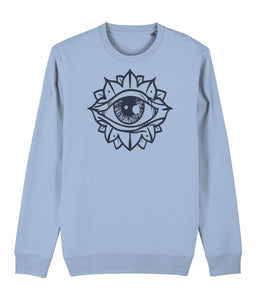 Eye Flower Sweatshirt Clothing IndianBelieves Sky Blue X-Small