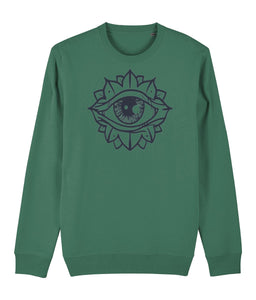Eye Flower Sweatshirt Clothing IndianBelieves Varsity Green X-Small