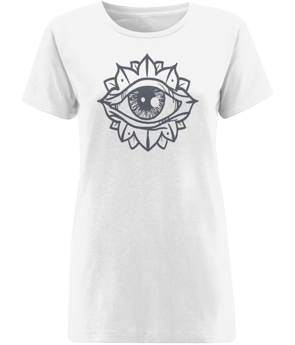 Eye Flower T-shirt Clothing IndianBelieves X-Small White