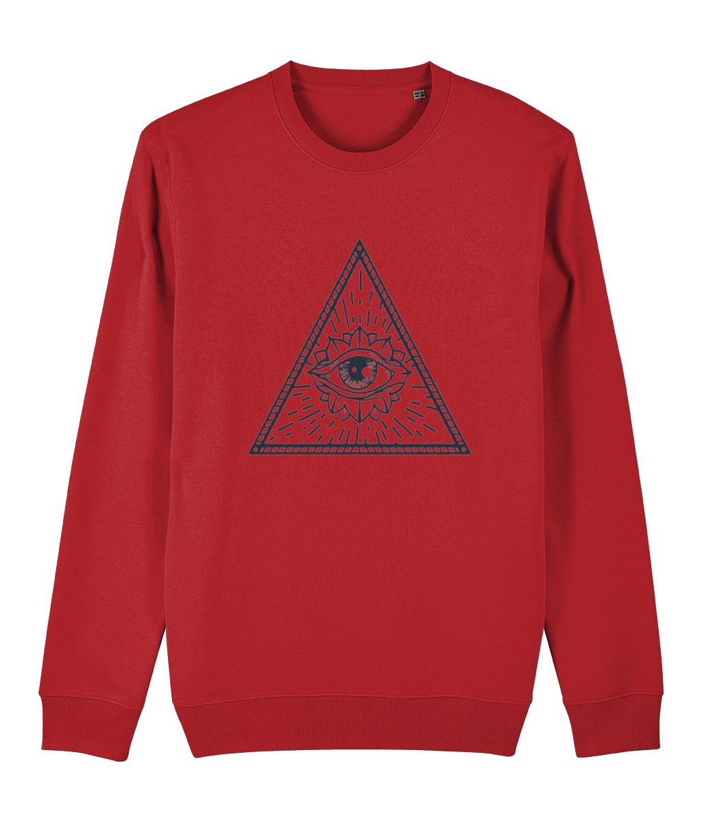 Eye of Providence II Sweatshirt Clothing IndianBelieves Bright Red X-Small