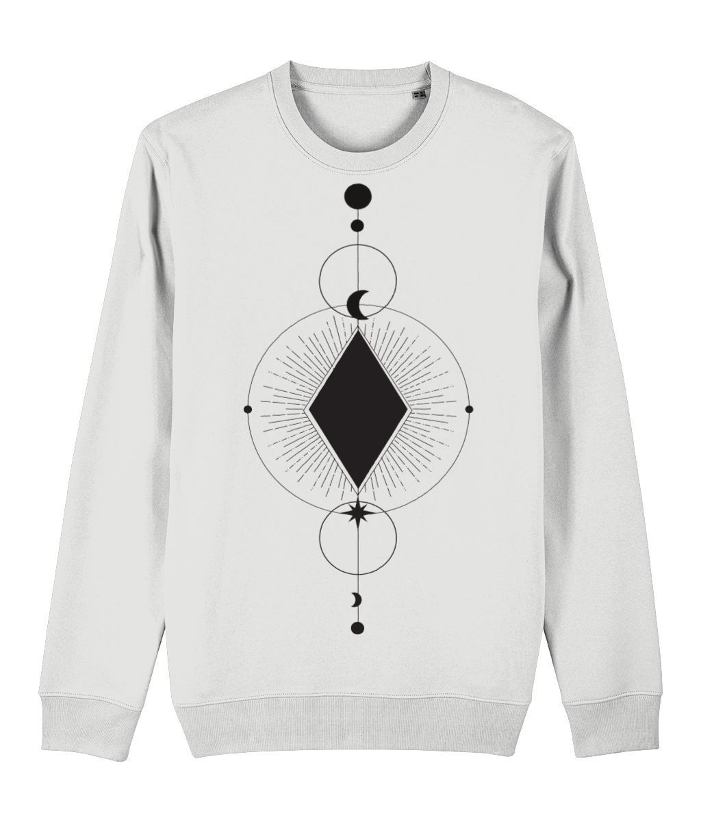 Geometric Alchemy Sweatshirt Clothing IndianBelieves White X-Small