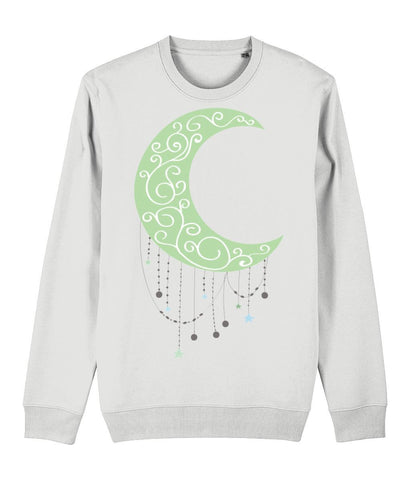 Green Moon Sweatshirt Clothing IndianBelieves White X-Small