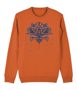 Lotus Flower I Sweatshirt Clothing IndianBelieves Bright Orange X-Small