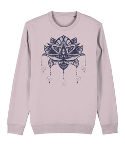 Lotus Flower I Sweatshirt Clothing IndianBelieves Cotton Pink X-Small