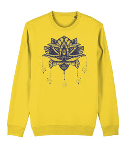 Lotus Flower I Sweatshirt Clothing IndianBelieves Golden Yellow X-Small